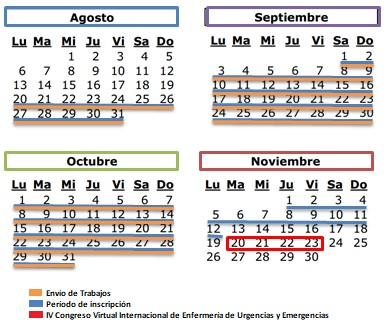 Calendario Congreso Virtual Enfermería